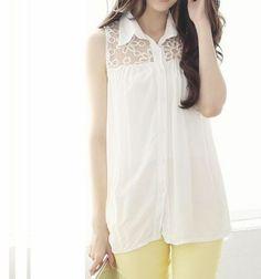 Lace Irregular Sleeveless Shirt
