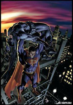 Superman vs Batman by Claudio Villa (pencils) and Fabio D'Auria (colours) *
