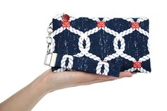 Navy clutch  beach purse  nautical bag with sailors by VictoryBags, $20.00