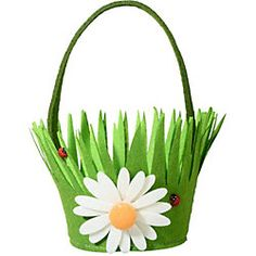 felt daisy basket - too cute! by robindu Easter Art, Easter Crafts For Kids, Diy Arts And Crafts, Felt Crafts, Easter Gift Baskets, Spring Activities, Easter Holidays, Preschool Art, Paper Gifts