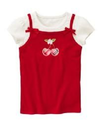 New Gymboree Cherry Cute Red White Layered Top Size 4 NWT Free Ship I Pay Slice