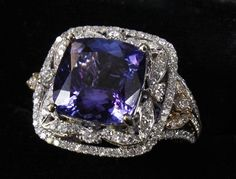 TANZANITE AND DIAMOND RING SET IN 14K WHITE GOLD $UNSOLD