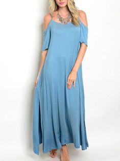 New Blue Cold Shoulder Maxi Dress Size S | eBay