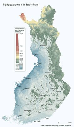 "mapsontheweb: ""Highest shoreline of the Baltic in post-glacial Finland, BP. Lappland, History Of Finland, Finnish Language, Map Pictures, Fjord, Bible Knowledge, Old Maps, European History, Historical Maps"