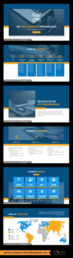 Company presentation template and slide deck with several layouts. Predesigned infographics shapes and slide content. Presentation intro - logo and title Presentation table of contents with section slides title and notes Company statements: vision, goals, mission Detailed company profile: founded, employees, locations, clients, production, sales, net profit, brand value Area of operation map. Fully editable style, size and colors.