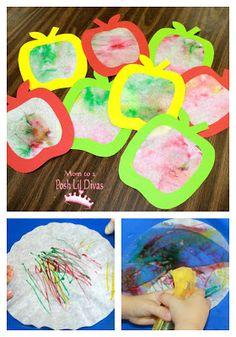 Mom to 2 Posh Lil Divas: Preschool Apple Week - Crafts, Activities & Books Preschool Apple Theme, Fall Preschool, Preschool Projects, Daycare Crafts, Classroom Crafts, Toddler Crafts, Craft Activities, Preschool Ideas, Preschool Apples