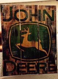 Pallet wood john deere sign reclaimed wood by CustomWoodSigns1