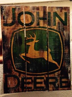 Pallet wood john deere sign reclaimed wood by CustomWoodSigns1