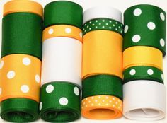 Green and Yellow Grosgrain Ribbon // Perfect for a #Baylor project