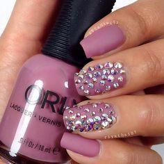 Matte Mauve Nails + Sparkly Rhinestones