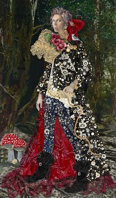 NINA SUREL ~ Into My Dream I Melted Into My Dream I Melted, 2011  78x46 inches Mixed Media: lace, photography, buttons, costume jewelry, porcelain and resin on wood
