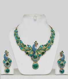 Peacock Design Costume Jewellery Set - Click Image to Close Indian Jewelry, Unique Jewelry, Vintage Jewelry, Silver Jewelry, Handmade Jewelry, Silver Rings, Stone Jewelry, Personalized Jewelry, Gold Jewellery
