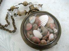 seaside keepsakes  antique pocket watch assemblage necklace by BabilandBijouAnnex, $85.00
