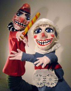 Punch and Judy puppets by Krista Dalby Glove Puppets, Hand Puppets, Sailor Jerry Tattoo Flash, James Ensor, Punch And Judy, Toy Theatre, Marionette Puppet, Puppet Show, Animation