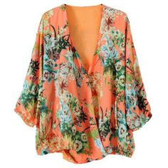 Floral Print Chiffon V-Neck Casual Style Nine Minute Sleeves Women's Hippie Blouse