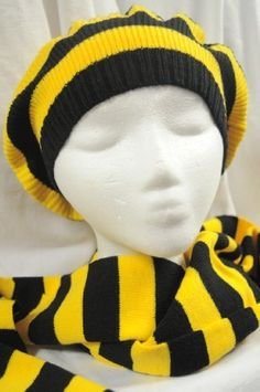 Yellow & Black Knit Beret Hat and Scarf Set . $14.99