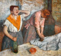 Women Ironing, Oil by Edgar Degas France). Women Ironing is Oil on canvas painting by the French artist Edgar Degas. It is painted in This portraits two women ironing. The painting is now in the collection of The Musée d'Orsay, Paris, France. Edgar Degas, Renoir, Jasper Johns, Rene Magritte, Painting Frames, Painting Prints, Art Prints, Claude Monet, Degas Paintings