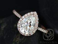 Tabitha 10x7mm 14kt Rose Gold Pear FB Moissanite and by RosadosBox