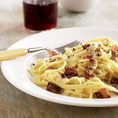 Go beyond traditional meatballs: our Spaghetti Carbonara recipe is a unique #pasta dish that's earned ★★★★★ on Parents.com http://www.parents.com/recipes/familyrecipes/dinner/on-top-of-spaghetti/?socsrc=pmmpin130528fSpaghettiCarbonara#page=8
