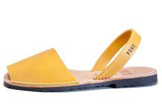 Avarca sandal, aka menorquina, Classic Style Women avarca Pons in Saffron color by Avarcas USA