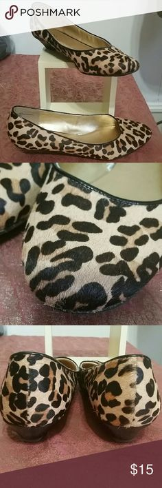 Calf hair leopard wedges Beautiful calf hair leopard print wedges 1 inch heal real leather marked 10 but run small more lije a 9 1/2 in EUC Merona Shoes Flats & Loafers