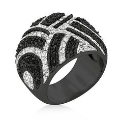 Black Rhodium Plated Black And White Cocktail Ring Embellished with Round Cut Black and Clear Cubic Zirconia Prong Set in Blacktone