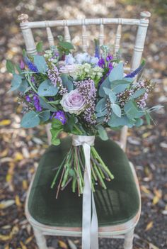 Loose hand tied bouquet we done for a photo shoot with Photographs by Eve http://www.photographsbyeve.co.uk/ at the Byre at Inchyra. Amazing wedding bridal bouquet with roses, veronicas, lavender, astrantia, stalks and foliage