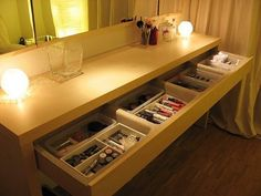 A good table with storage, make-up (magnifying) mirror with lights. And a chair. Need all the help I can get these days.