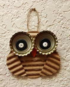 Owl Ornament, Recycled Corrugated Cardboard, Upcycled Bottle Caps, Button Bird Ornament, Mixed Media Halloween Decoration, Autumn Ornament
