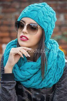 Шапочка и снуд узорами из кос   Вязание для женщин   Вязание спицами и крючком. Схемы вязания.