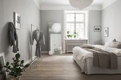 Grey & white Scandinavian bedroom