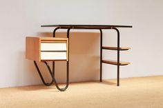 Vintage Dutch Formica and Wood Desk