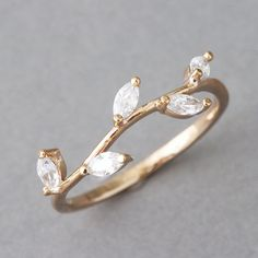 CZ Rose Gold Olive Ring