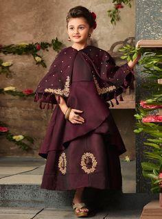 Buy Wine Satin Readymade Kids Gown 144220 online at lowest price from vast collection at Indianclothstore.com.