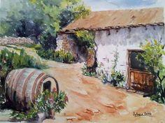 Caserio de Merza Asturias selecionada para el XIV certamen de Acuarela de Benalmádena