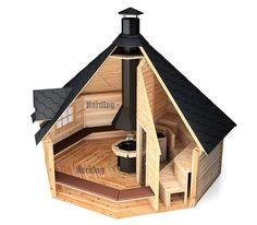 NordLog Kombi- Grillkota mit Sauna Saunahaus Gartensauna Hütte Außensauna in Heimwerker, Sauna & Schwimmbecken, Saunen Sauna House, Sauna Room, Tiny House Cabin, Tiny House Design, Cabin Homes, Diy Sauna, Sauna Ideas, Saunas, Bbq Hut