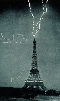 Lightning rods or lightning sensors? Giant capstone , the Eiffel Tower can do both.