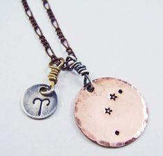 Aries Necklace, constellation necklace, zodiac jewelry, aries, aquarius, gemini, pisces, virgo, scorpio, libra, leo, cancer, capricorn. $54.50, via Etsy.