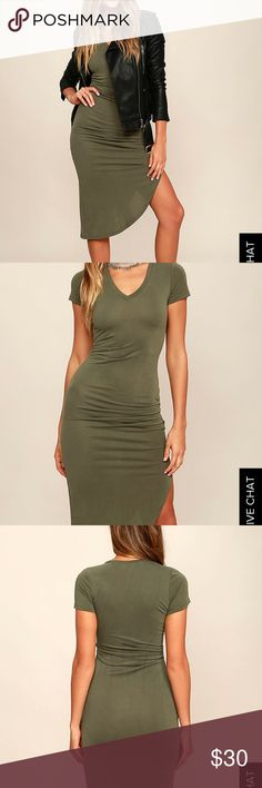 LULUs serene sunrise midi dress ✨NWT✨ Khaki green midi dress featuring a side slit from Lulu's. A perfect dress to wear out on a weekend night, or out during the day. Dress it up with heels, edge it out with a moto jacket and booties, or pair it with converse for a casual look. This item is no longer available on LULUs.com. 🚫NO 🅿️🅿️, 🚫NO TRADES, ✅OFFERS ACCEPTED Lulu's Dresses Midi