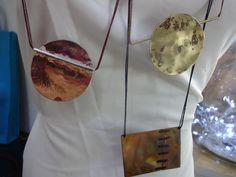 necklaceses on brass-copper and silver by flora lampadinou...