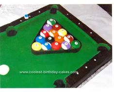 Homemade Billiard Table Cake Idea: This Billiard Table Cake Idea is made with a full sheet cake made of dark chocolate with vanilla Swiss buttercream frosting. The groom requested a pool