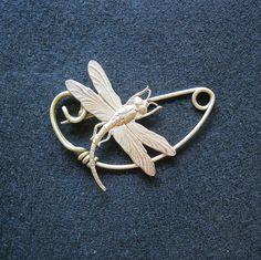 Dragonfly brooch pin Shawlpin Shawl pin by celtsmith on Etsy, $22.50