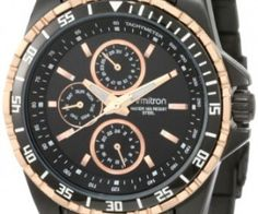 Armitron Men's 20/4739TRTI Black-Ion Plated and Rosegold-Tone Multi-Function Stainless-Steel Bracelet Watch