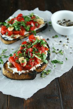 Authentic Suburban Gourmet: Roasted Pepper and Chevre Tartine | Friday Night Bites
