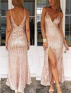 Sexy Prom Dress,Leg Slit Prom Dresses,Sequins Prom Dress,Pink Sheath  Prom Dresses,Fashion Prom Dress,Cheap Prom Dresses,PD0088