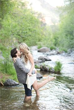 Forest Engagement Session, The Great Outdoors, Nature, In the River, Elegance in the Mountains, Frolicking in the Creek, Mountain Inspired Engagement Session.