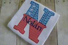 Personalized Custom July 4th Patriotic Applique shirt with Stars and Chevron by TheCypressNeedle on Etsy