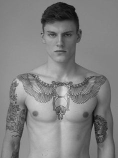 Mens Chest Tattoo With Wings