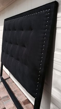 All Custom Made in South Florida, Suede King Headboard Chrome Rivets