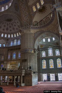 The incredible interior of the Sultanahmet Camii (Blue Mosque) in Istanbul, Turkey.